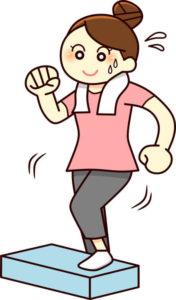 踏み台昇降運動をしている女性のイラスト