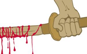 血まみれの日本刀を持つ手のイラスト