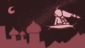 1992年のアニメ映画『アラジン』のワンシーン・アラジンとジャスミンが夜空を飛ぶ