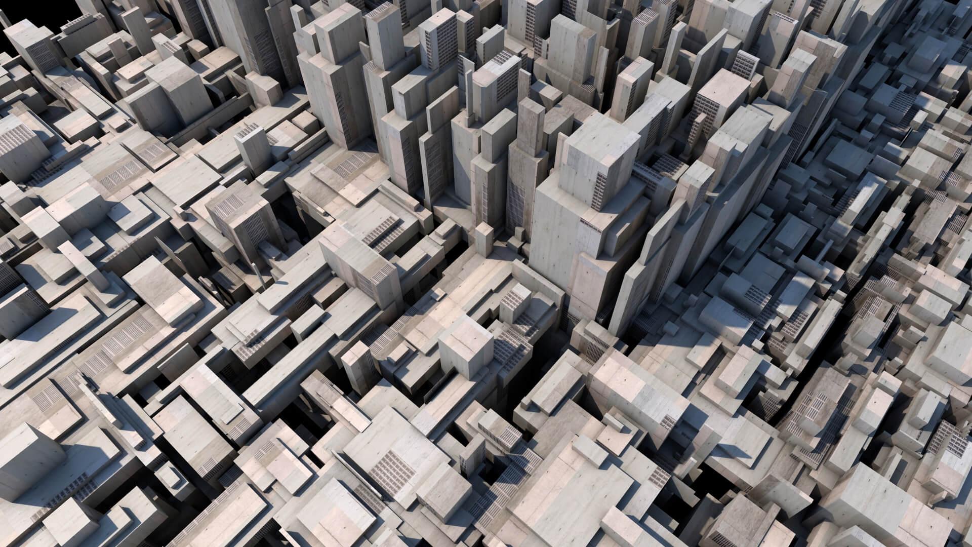 3Dで作成された街並みの画像