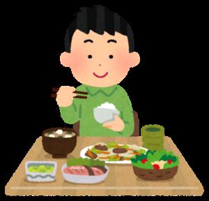食事を摂る男性のイラスト