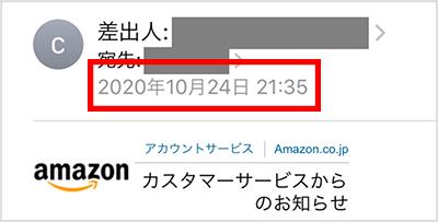 Amazonからのメール受信画面
