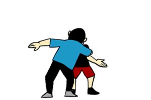 胸ぐらを掴つかまれつつ腕を旋回し相手の腕に巻きつけつつ相手の体制を大きく崩しているところのイラスト