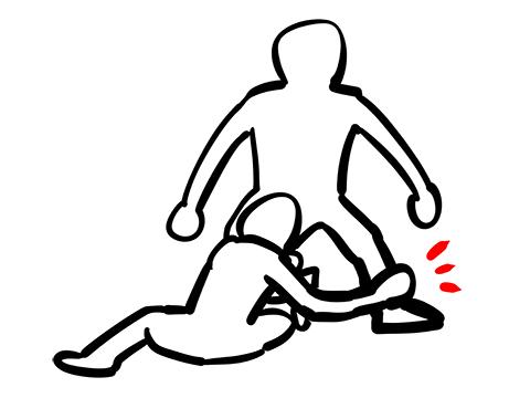 ニーオンザベリーに対するシングルレッグのカウンターで相手の足をとっている様子のイラスト