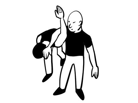 腕ひしぎ腕固めの体勢で犯罪者を連行している様子のイラスト