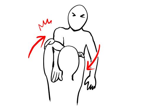 両肘を抱えて極める腕ひしぎ腕固めのイラスト