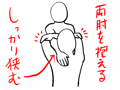 両肘を抱えて極める腕ひしぎ腕固めの準備段階のイラスト